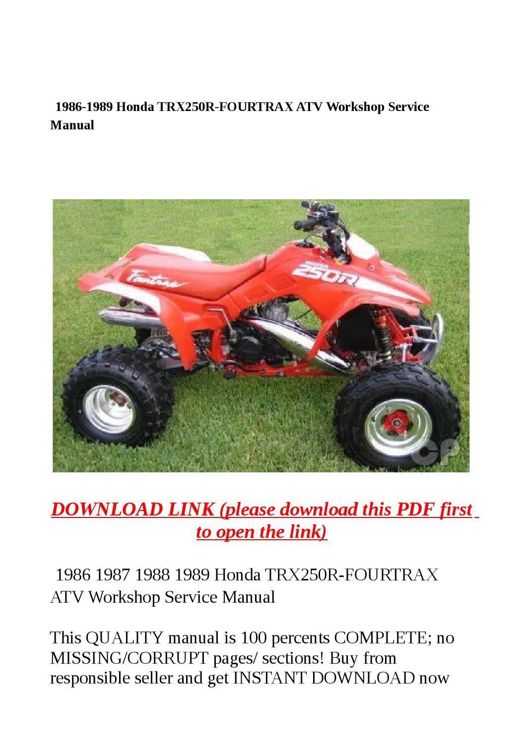 1986 honda trx250 fourtrax manual
