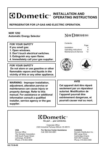 dometic refrigerator rm2652 owners manual