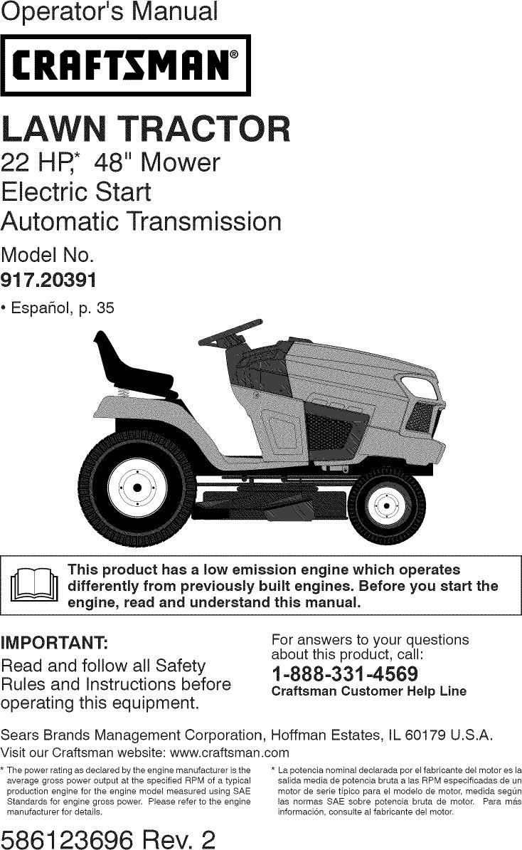 craftsman lawn tractors manuals online