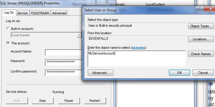 sql server service automatic or manual