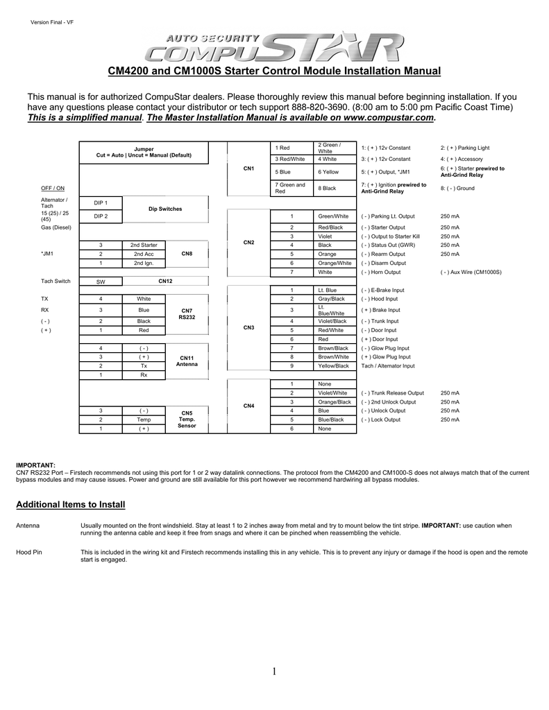 compustar remote start manual cm4200dx replacement box
