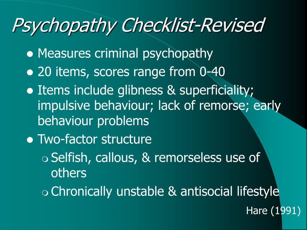 manual for the hare psychopathy checklist-revised