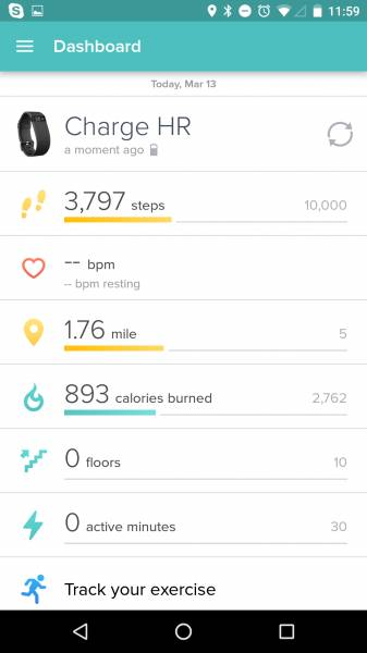 manually force sync on fitbit charge hr